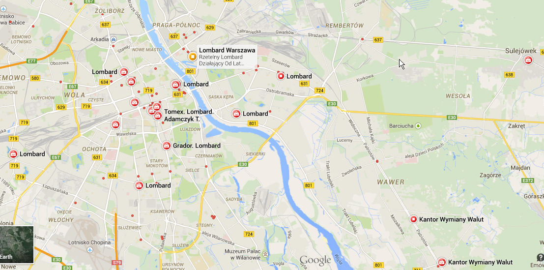Mapa warszawskich lombardów