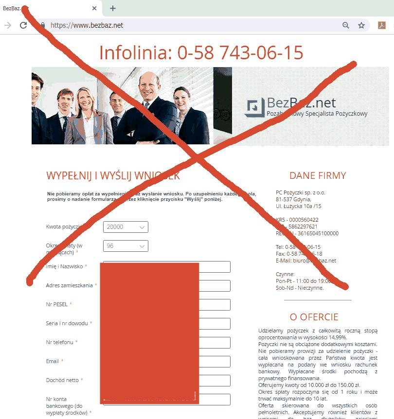 Nielegalne BEZBAZ.NET – zmyślone RSO, skany dokumentów, cuda wianki online