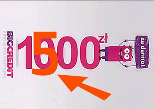 Chwilówka BIG Credit ze zmienioną kwotą pierwszej umowy na 1500 zł
