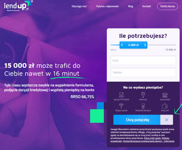 Strona główna pożyczki online z LendUp od Profi Credit Polska S.A.