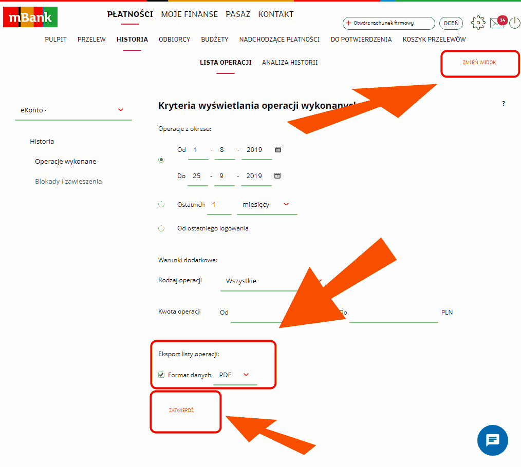 Przykład jak wygenerować wyciąg z konta mBank