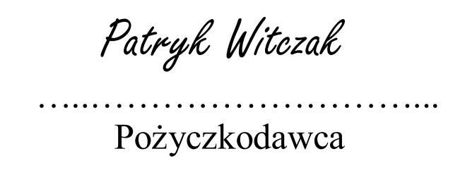 fikcyjny podpis pisany czcionką komputerową naśladującą ludzkie pismo