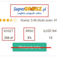 Opinie – Super Grosz z zaniżonym RRSO na Chwilowo – prawdziwy koszt 2225,25 zł zamiast 206 zł. RRSO podane 8% a faktyczne wynosi 105,12%