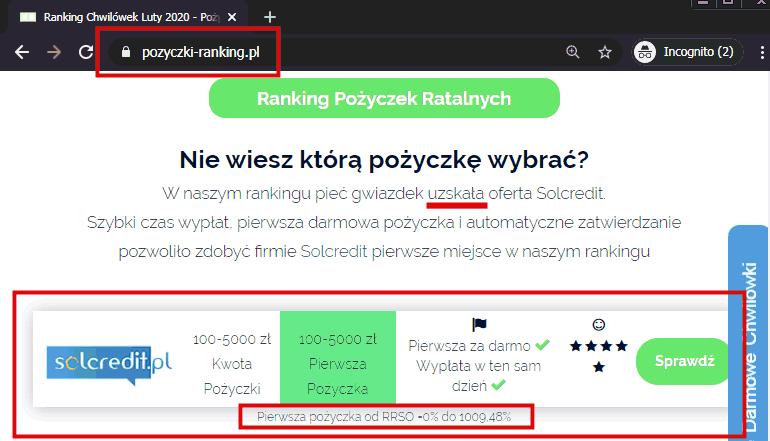 Pożyczki Ranking - SolCredit 1-sze miejsce