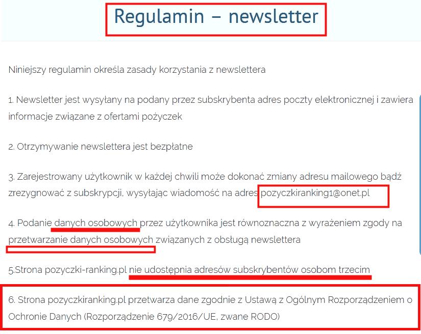 Pożyczki Ranking - regulamin