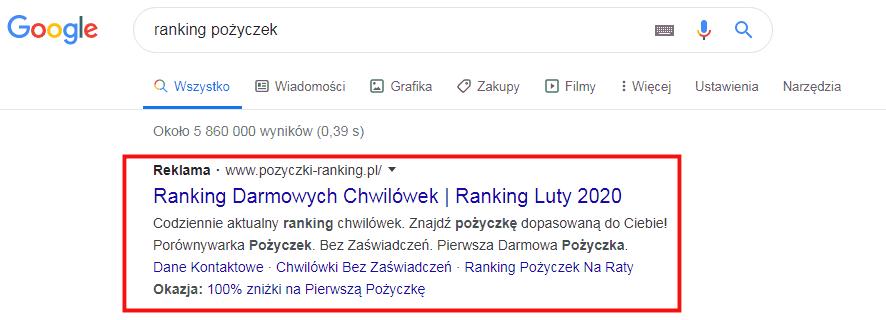 Pożyczki Ranking Google Ads
