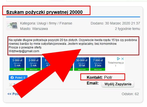 Szuka online pożyczki 20000 zł
