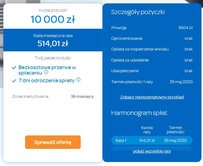 10000 zł NA raty