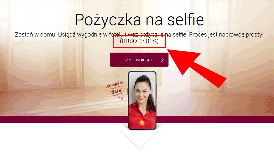 Oprocentowanie rzeczywiste RRSO kredytu na selfie w Alior Banku