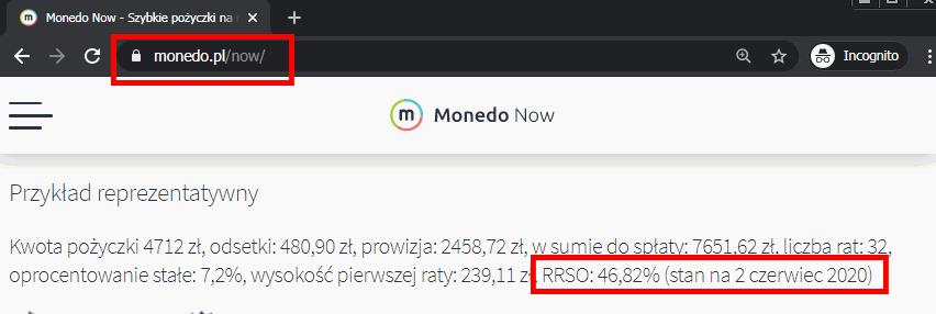 NA 46,82% przykład Monedo NA RATY