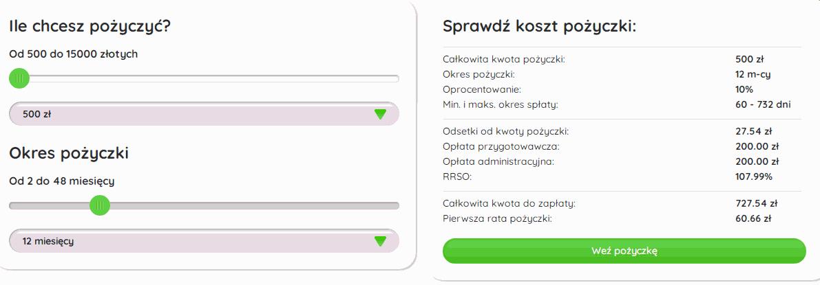 Koszt RRSO 12 miesięcznych rat w Extra Kieszeni