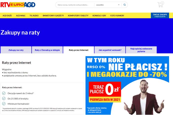 Pożyczka ratalna przez internet w RTV EURO AGD