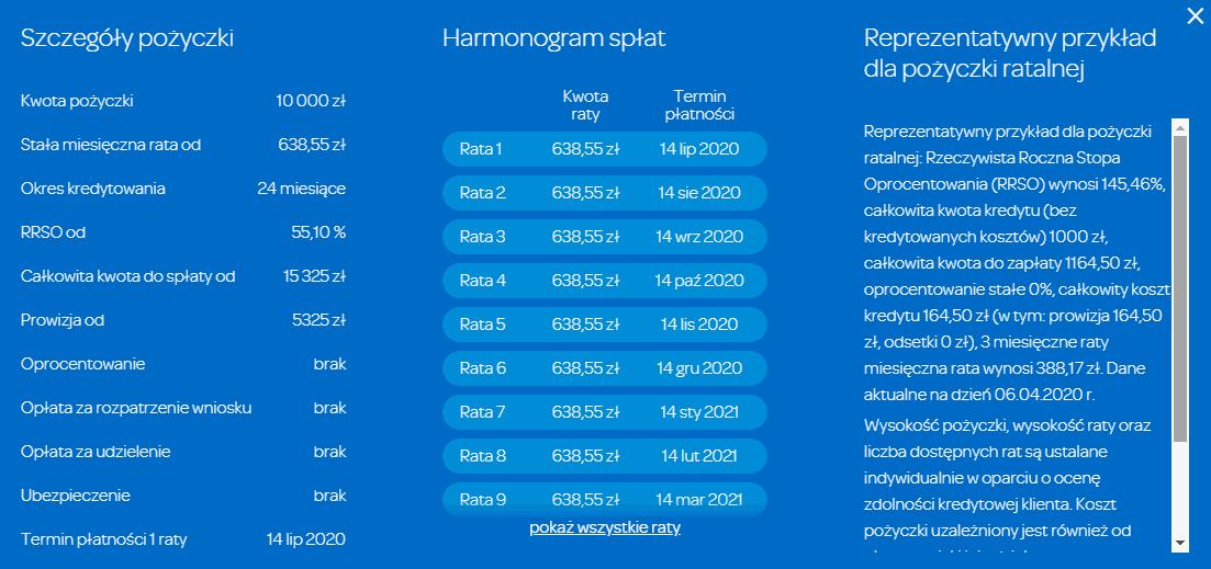 Przykład pożyczki na raty miesięczne przez internet Wonga 0%