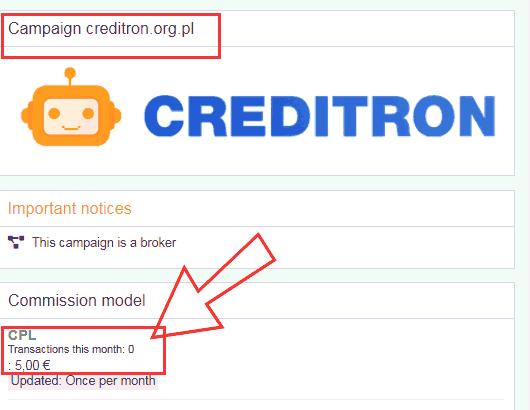 5 EUR dochodu za polecenie rejestracji w Creditron