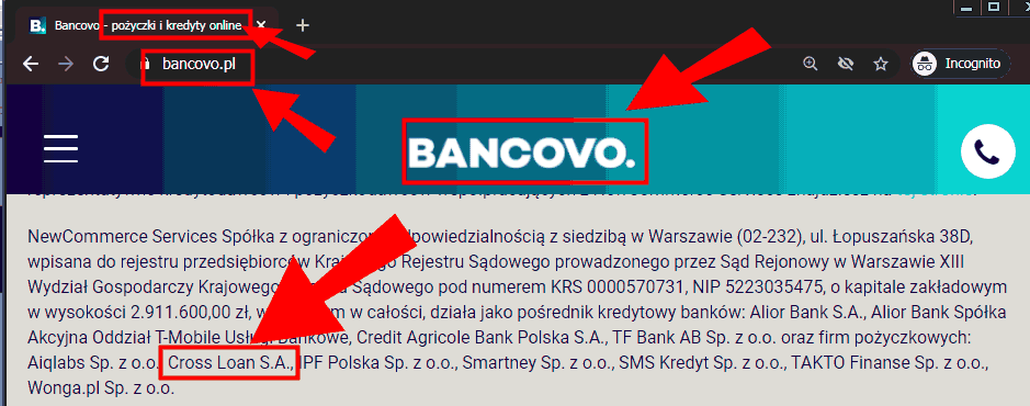 Stopka Bancovo z wymienionym partnerem Cross Loan
