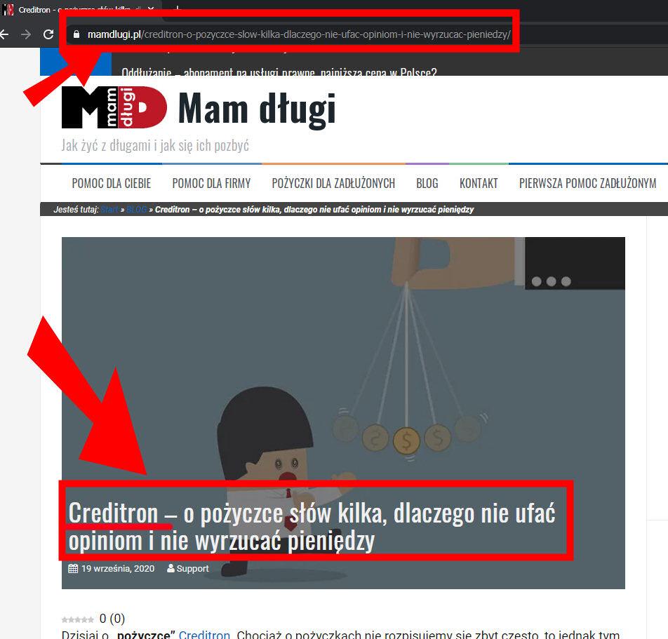 Wpis o Creditron na mamdlugi.pl