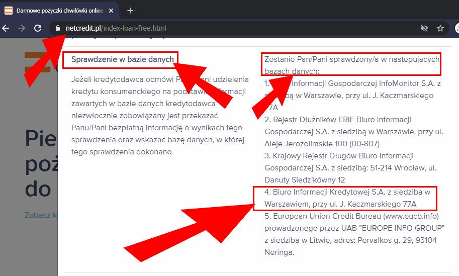 Netcredit sprawdza w BIK