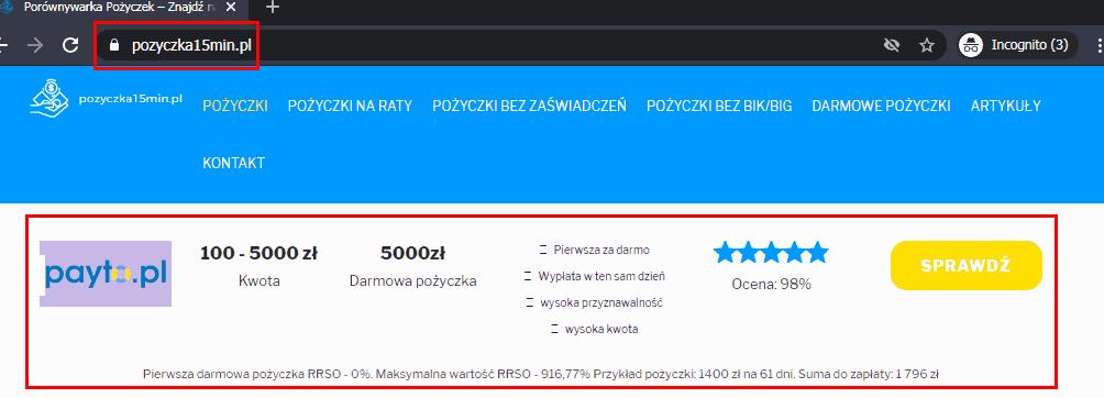 Payto jako pierwszy w rankingu choć to nie jest żadna pożyczka