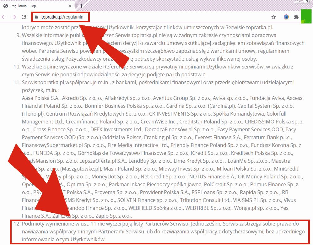 Fragment regulaminu TOP Ratki z informacją o partnerach