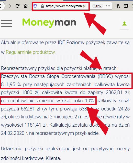 Oprocentowanie Money Man sprzeczne z przepisami prawa