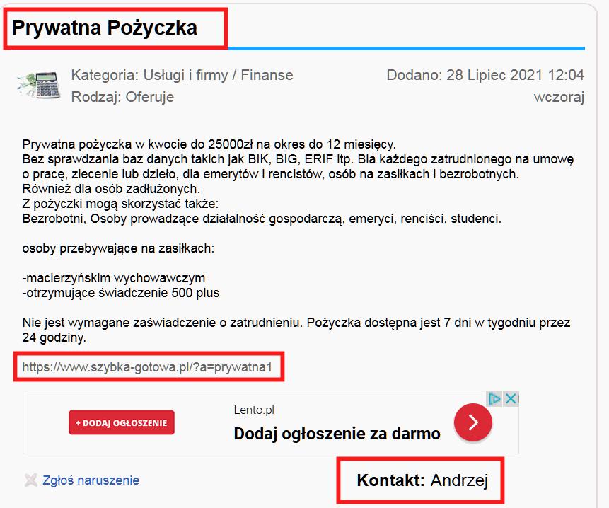 Tym razem Andrzej jest kontaktem prywatnym
