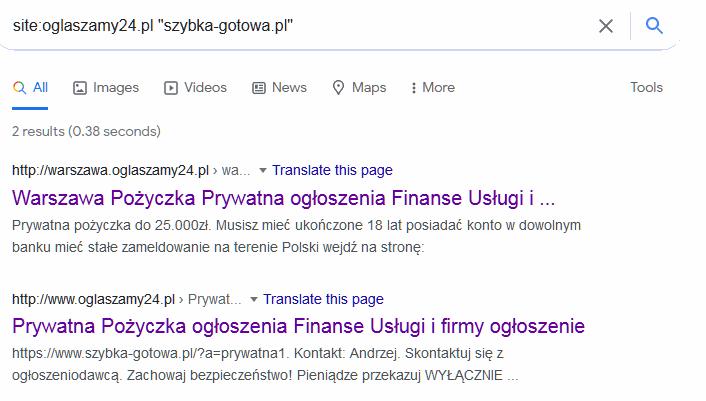 Inne ogłoszenia ze stroną szybka-gotowka.pl