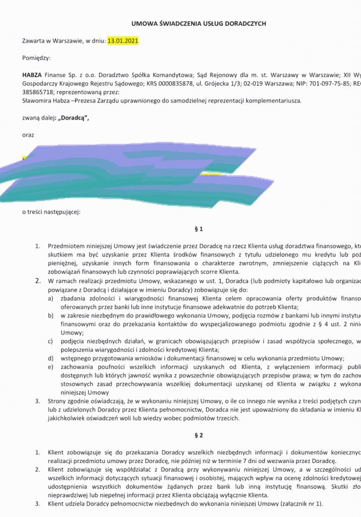 Umowa Habza Finanse - strona 1