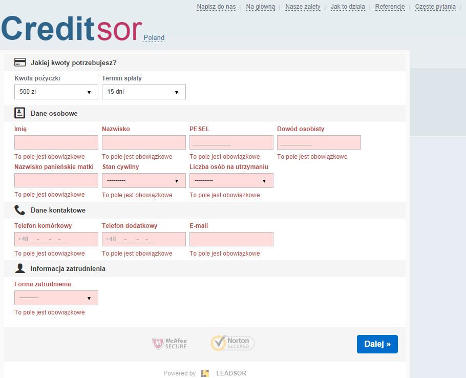 Pierwsza część długiego wniosku o przedstawienie informacji o pożyczce Creditsor